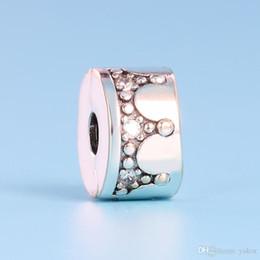 encanto de la pulsera del arco del rhinestone Rebajas Llegada Crown Clips Charm Set Caja original para Pandora 925 Pulsera de plata esterlina DIY CZ Diamond Charms Accesorios de joyería