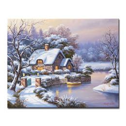 2020 pintando la casa del lago Diy pintura al óleo por kits de números para colorear pintado a mano noche de invierno pequeña casa lagos lienzo fotos decoración del hogar arte de la pared enmarcado rebajas pintando la casa del lago