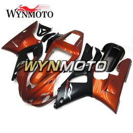 Yamaha r1 naranja negro online-Nuevo Orange Black Sportbike ABS OEM Inyección Moto Carrocería Nuevo carenado para Yamaha YZF1000 R1 1998 1999 Completos marcos de carrocería