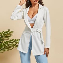 Bianco Womens Blazer 2019 Autunno Sashes Lace Up fibbia a maniche lunghe Slim Fit Office Lady lavoro di strada Giacche portano il cappotto