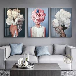 2019 mano de buda pinturas al óleo Resumen moderno sexy chica plumas personajes carteles e impresiones arte de la pared pintura de la lona cuadros de la pared para sala de estar sin marco