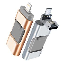 32GB Móvel USB Flash Drive para iOS Expansão Memory Stick iPad de armazenamento externo para iOS Android PC Laptops telefone móvel U disco 3-em-1 de