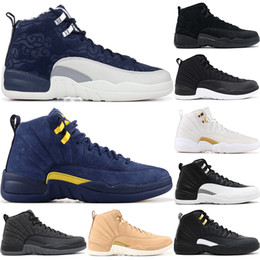 finest selection d6968 cd7d9 12 12s College Navy Men Basketball Shoes Michigan Flu Game the master  Nubuck Nylon black white taxi Sports trainer sneakers 41-47
