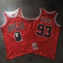 2020 camisa de bape Homens BAPExMITCHELL NESS ChicagoBulls 93Bape Red duplo bordado Jersey camisa de bape barato