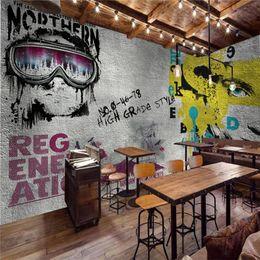 Personajes de papel 3d online-Viento industrial gris cemento pared graffiti pintura foto fondos de pantalla para pared bar restaurante decoración personaje mural papel 3d
