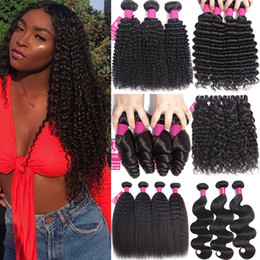 vietnamese remy human hair Promo Codes - 9A Brazilian Virgin Human Hair Bundles 100% Unprocessed Brazilian Human Hair Body Wave Straight Loose Wave Curly Deep Wave Remy Virgin Hair