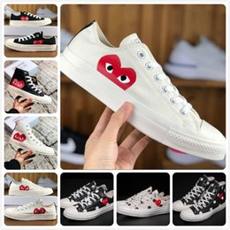men designer brand genuine leather Promo Codes - 2019 New Play All Stars shoe CDG Canvas Jointly Big With Eyes Hearts Brand Beige Black designer casual running Skateboard Sneakers 35-44