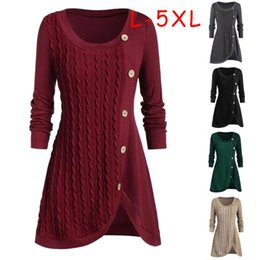 2021 camisola pescoço assimétrico Plus Size Mulheres O-Long Neck Sleeve Sólidos Botton Pachwork Asymmetric Tops Sweater