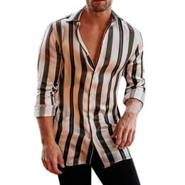Raya de manga larga para hombre online-Camisa de hombre Camisa de verano de manga larga con estampado de rayas, manga larga, blusa superior, camisa de vestir para hombres