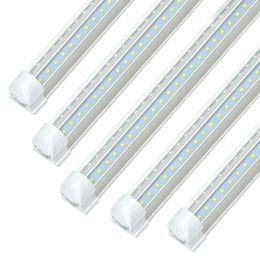 Tiras de luz epistar led on-line-O dispositivo elétrico claro 72W 7200LM da loja do diodo emissor de luz de 8FT, 5000K branco, fileira dupla dá forma a V, T8 integrou luzes do refrigerador da tira do tubo, 25P claro, Linkable