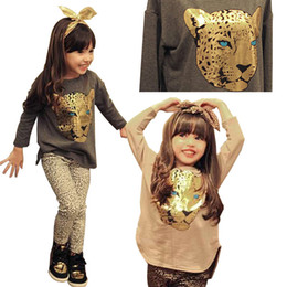 f8dabb0f747 2019 Summer Toddler Girls Clothing Sets 2-8 Years Kid Tiger Tops+Leopard  Legging 2pcs Girl Clothes Set Children Costume Suit