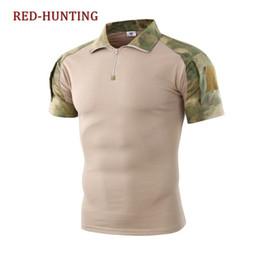 Pantalones cortos de camuflaje táctico online-FG UA Tactical Combat Camo Camisa La transpiración de la camiseta de manga corta Tops verano