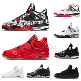 sports shoes 6fcff cbdcf 2019 Tattoo 4 Singles Day 4s Herren Basketball-Schuhe Pure Money retro  Premium Schwarzweißer Zement Bred Feuerrote Retros Turnschuhe