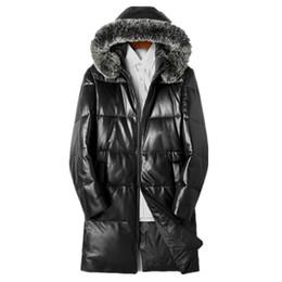 c320b11fdfd Genuine Leather Jacket 2018 Winter Jacket Men Real Fox Fur Collar Sheepskin  Coat for Men Warm Down Jackets Veste Homme MY1721
