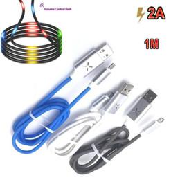 Осветительные телефонные шнуры онлайн-Новые танцы Регулятор громкости Светодиодные вспышки кабель данных синхронизации 2A быстрой зарядки тип C USB кабель для Galaxry Примечание 10 S9 P10 LG PHONE XS кабели