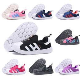 chaussures pointues pour garçons Promotion Enfants Designer Chaussures Superstar Garçon Fille De Luxe Baskets Noir Bleu Rose Rouge Noir Point Violet Nouveaux Enfants Casual Chaussures De Sport Taille 22-35
