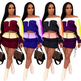 Женщины 2 шт платье сексуальный пуловер слеш шеи с плеча с длинным рукавом обрезанные сверху мини-юбка выше колена летняя одежда плюс размер 196 от
