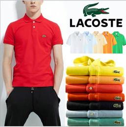 Camisas de pólo homens de bolso on-line-Homens verão nova marca cor sólida polo camisa escritório de negócios formal de manga curta homens camisa polo com o peito esquerdo bolso polo camisa