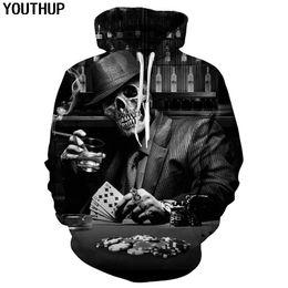 YOUTHUP New Male 3d Felpe con cappuccio Skull Poker Stampa Felpe con  cappuccio 3D Hip Hop Felpa con cappuccio Uomo Unisex Pullover Cool Uomo Top  Outwear ... c0d54e228f33