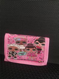 Canada Hot style modèle de poupée Filles Portefeuille Fold Pocket Sacs Rose rouge Bande Dessinée Papeterie De Stockage Organisateur Sac Enfants Bourse 50pcs cheap pink purse for kids Offre