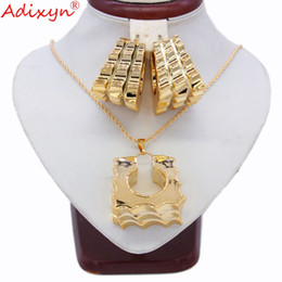 2019 boda colores plata coral Adixyn Two Desigh Square Pendientes / Colgante / Collar Rose Gold Color Jewelry Set para mujeres Regalos N031915