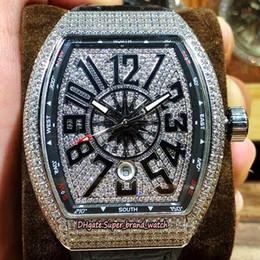 2019 relógios de imitação Nova coleção dos homens de alta qualidade Vanguard V45 SC DT YACHTING OG preto Dial Mens automático Watch Silver Diamond Case Leather Sports Relógios desconto relógios de imitação
