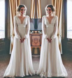 Deutschland 2019 Best Selling Boho Hochzeitskleid Langarm Modest V-ausschnitt Chiffon Empire Mutterschaft Frauen Brautkleider Griechischen Stil Versorgung