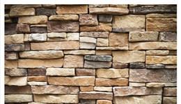 Murais de pedra on-line-Papel de parede Personalizado 3d foto mural papel de parede home decor Atmosférico retro parede de tijolos de pedra convidado sala de estar quarto sofá fundo parede