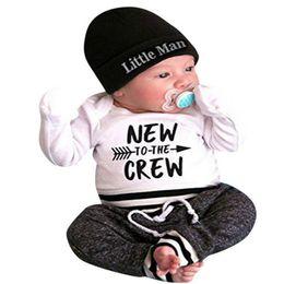 2019 meninos listrado camiseta 3 Pcs Baby boy clothing set Carta Imprimir Romper Tops + Calças Compridas + Chapéu recém-nascidos crianças menino roupas frete grátis