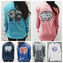 Elefantdruckt-shirt online-Frühlingsmode elfenbein ella elefant gedruckt t-shirt frauen luxus frauen designer t shirts marke langarm frau t-shirt tops tshirt