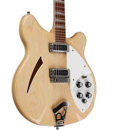 Guitarras semi huecas online-Nuevo Custom Guitar Ric Guitarra de madera natural 360 12 cuerdas Guitarra eléctrica Semi Hollow Triángulo Madre de diapasón perlado Guitarras de China