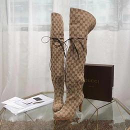 2019 zapatos de boda de tacón bajo de plata de diamantes de imitación 2018 otoño e invierno nuevas mujeres de lujo cuerda cordón zapatos de tacón de lona botas altas hasta la rodilla botas altas # 1110905