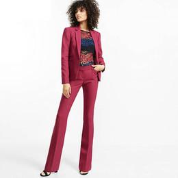 Femmes pantalons costumes lumière Bourgogne entaille revers femmes dames bureau d'affaires smokings formelles veste + pantalon costumes nouveaux femmes ? partir de fabricateur