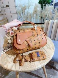 карманный пресс Скидка Бренд роскошная дизайнерская сумочка модная сумка MCM кожаная наплечная сумка сумка-мессенджер кошелек подарочная коробка упаковка
