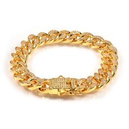 pulseiras com miçangas Desconto 12 milímetros para fora congelado Zircon Cadeia cubana dos homens Pulseira Hip Hop jóias de cobre cheia que ajusta Zirconia Cubic