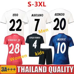 Jerseys de fútbol para mujeres online-Camiseta de fútbol Tailandia REAL MADRID Jerseys HOMBRE MUJER NIÑOS soccer jersey 18 19 Camisa Liga de campeones Jersey de madrid Real madrid 2019 camisetas de fútbol sergio ramos MODRIC