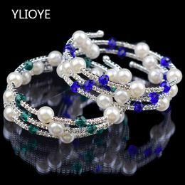 2019 jóia bracelete de cristal 7 cores 3 linhas contas de cristal pérola Pulseiras Pulseiras para As Mulheres Rhinestone Alongamento Bangle Braço Superior Pulseira jóias jóia bracelete de cristal barato