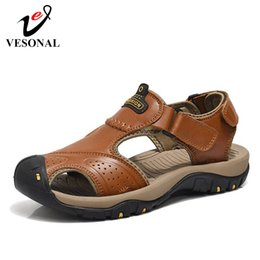 f8bb2bae0 leather sandals shoes for men Coupons - VESONAL 2019 Summer New Genuine  Leather Out door Shoes
