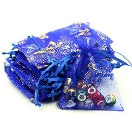 Бабочка конфеты синий онлайн-Пакет ювелирных изделий с логотипом бабочки 9x12 см 50 шт. / Лот темно-синие органзы для подарочной упаковки тюль свадебной конфеты мешочки
