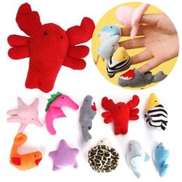 2019 giocattoli per bambini precoci Cute Finger Puppets Bambola di stoffa Kids Fun Sea Animal Peluche Toy Doll Baby Early Learning Toy 10pcs LJJS95 sconti giocattoli per bambini precoci