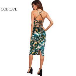 COLROVIE Lace Up Back Velluto floreale Dress Botanical Women Sexy Cami Midi abiti estivi verde elegante aderente Party Dress Q190423 da