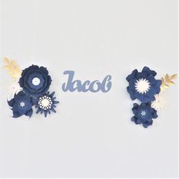 2019 conjuntos de decoración de la ducha del bebé DIY flores de papel Nombre del conjunto sesión Kit de la pared del cuarto de bebé Decoración Telón de fondo de la ducha pared de la flor de la decoración de la flor gota de la nave conjuntos de decoración de la ducha del bebé baratos