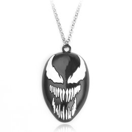 Spiderman halskette anhänger online-Neue The Avengers Halskette Venom Deadly Guardian Spiderman Schwarze Maske Halsketten Gliederkette Anhänger Schmuck Halskette Für Männer Frauen