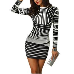 Vestidos de lápiz para niñas online-Retro de la cadera caliente atractivo de las mujeres elástico Impreso paquete del vendaje de Bodycon del mini vestido cortos de las muchachas del club atractivo del partido Vestido lápiz