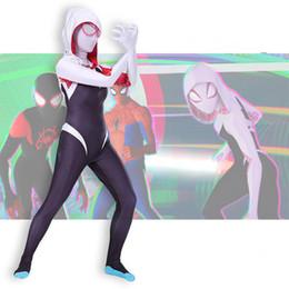 2020 vestiti di mascheratura femminile Spider Gwen Stacy Spandex Lycra Zentai Spiderman Costume Per Halloween Maschera Cosplay Donne Spider Suit Femminile Anti-Venom Gwen vestiti di mascheratura femminile economici