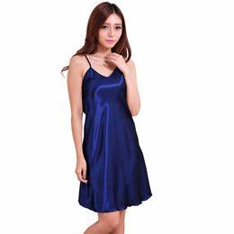 Canada 2019 été nouvelles femmes vêtements de nuit femme sexy spaghetti sangle chemise de nuit plus la taille XXXL rayonne chemise de nuit robe courte robe robe Offre