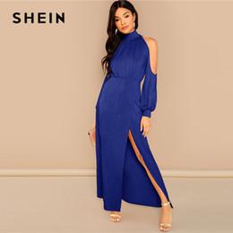 b1bd7be3dfe09 SHEIN Dışarı Gidiyor Parti Mavi M-Yarık Ön Soğuk Omuz Standı Yaka Maxi Düz  Elbise 2018 Sonbahar Modern Lady Kadınlar Elbiseler