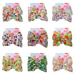 flower claw hair accessories Coupons - INS jojo siwa 104Colors Baby Girls Bow Mermaid clover Flamingo print Hair Accessories Barrettes Kids 8 inch Headdress hair bows with Clips