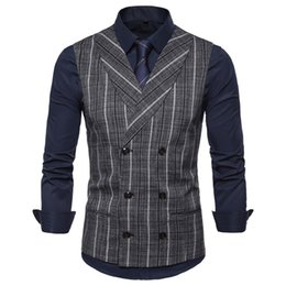 fashion chinese wedding dress Coupons - New Style Groom Vests Tweed Stripe Groomsmen Best Man Vest Slim Fit Mens Dress In Stock Wedding Waistcoat