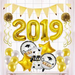 decorações da cerimónia de formatura Desconto Cerimônia de graduação Balão De Folha De Alumínio Conjunto De Prata De Ouro De Látex Número Balão Balões 2019 Temporada de Formatura Decoração Do Partido VT0249